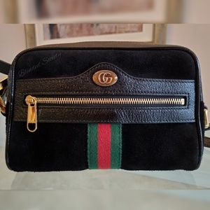Gucci Ophidia Mini Black Suede Web Crossbody Bag